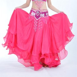 Wholesale Ocean Three - 13 Colors Dancewear Professional Belly Dance Clothes Flamenco Indian Gypsy Three-tier curly Chiffon Skirts Oriental Practice Belly Skirt
