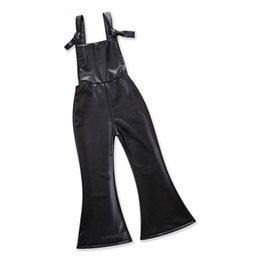 Wholesale Bell Trousers - Girls Flares PU Bell-bottoms Baby Girls Rompers Lace-up Wide Leg Pants Fashion Cool Vest Summer Spring Autumn Flare Trousers Clothes