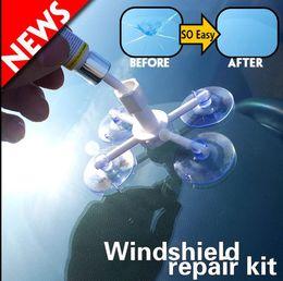 Wholesale Professional Car Kit - Car Windshield Chip Repair Kit tools Professional DIY Auto Glass Windscreen repair set Windshield Repair DIY Tool Kit KKA4536