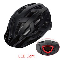 advertencia de las luces del visor Rebajas 2018 Mountain Road LED Light Ciclismo Cascos M L 55-61CM Adultos Head Protect MTB Bike Casco de bicicleta con visera Advertencia Lingt