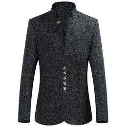 Wholesale Blazer Mandarin Men - 2017 New Fashion Chinese style Suit Jackets Men Classic Formal Wool Solid Color Slim Fit Mandarin Collar Men Blazer Tuxedo 6XL