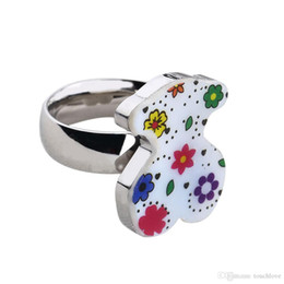 Wholesale Good Party Flowers - TL stainless steel fashion ring bear and flower decoration good quality top selling new brand jewelry