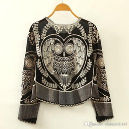 Wholesale Long Sleeve Owl Shirt - 2018 New Women's Chiffon Blouses Shirts Lace owl Embroidery pattern shirt loose O neck Animal Embroidery Fashion Long sleeves drop ship