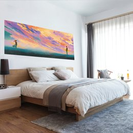 Wholesale vivid paintings - 3D Vivid Standing Opposite of Each Other Against Romantic Colorful Sky illustration Painting Bed Headboard Wall Sticker Bedroom Home Decor