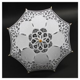 Guarda-sol de algodão on-line-Venda quente 1X Vintage Branco Algodão Artesanal Parasol Lace Sun Umbrella Party Wedding