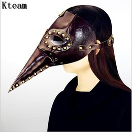 Wholesale Doctor Costume Men - Hot Sale Unisex Steam punk Plague Bird Doctor Cosplay Fancy Gothic Medieval Steampunk Retro Rock Mask for Masquerade Party Halloween Costume