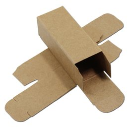coating chemical Promo Codes - 50Pcs Small Brown Kraft Paper Cardboard Box DIY Craft Paperboard Storage Gift Cosmetic Lipstick Packaging 6 Sizes