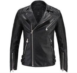 Wholesale Motorcycle Leather Coats - 2018 Brand men Motorcycle jacket water washed leather jacket men clothing fashion skull plus size leather coat