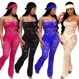 see through lace jumpsuits Coupons - Women lace Jumpsuit spaghetti strap Rompers hollow out See-through Overalls Bodysuit Designer clothes night club sheer wide-leg pants