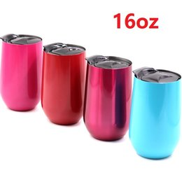 Wholesale Wholesale Travel Wine Glass - 100Pcs Wine Glasses 304 Stainless Steel Vacuum Insulated cups 16oz Tumbler Outdoors Travel mugs Wine cups with lids 6 Colors