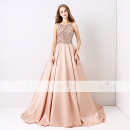 Wholesale Flower Tanks - 2018 New Arrival Long Prom Dresses Luxury Beaded Top Tank Sleeveless Crystals Satin Formal Evening Dress Party Gown Custom