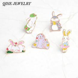 Wholesale cute girl china - QIHE JEWELRY Pind and brooches Rabbit pin Bunny pin Cartoon animal cute kawaii brooches badges Gift for girls Wholesale