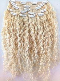 Argentina Nuevo llega clip en extensiones de cabello rubio 613 brasileña virgen humana Remy rizado pelo trama suave doble dibujado cheap 24 613 hair weft Suministro