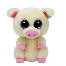 Wholesale Teddy Bear Girl Boy - 6'' 15cm Ty Beanie Boos Stuffed Animals & Plush Pig Toys Big Eyes Kawaii Gift for Baby Girls Boys Birthday Present
