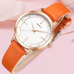 c8866c14310 2019 mostrador laranja 2019 primavera   verão orange cor de couro mulheres  relógios grande dial vestido