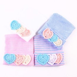 Wholesale newborn crochet hats for boys - 4pcs 0-6 month Baby Beanie Hat Love Pattern Winter Autumn Warm Cotton Knitted Cap For Newborn Infant Kids Stripe Soft hat MZ20