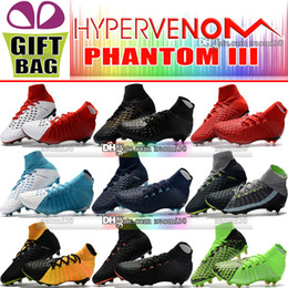 Wholesale cheap white shoes gold spikes - 2018 New Arrivals Hypervenom Phantom III DF FG Soccer Shoes Outdoor Hypervenom ACC Socks Soccer Cleats Cheap High Ankle Football Boots 39-46