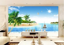 Wholesale 3d Scenery Photo - 3d wallpaper custom photo non-woven mural Coconut palm beach scenery decoration painting 3d wall murals wallpaper for walls 3 d