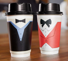 Wholesale Paper Cup Hot - Best Disposable Coffee Cups to Go - Premium Hot Paper Cup With Lids 13 Oz gentleman coffee cups