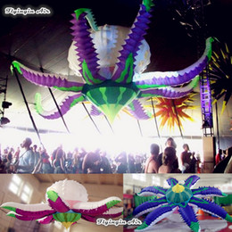 Wholesale Giant Flower Decoration - Concert Decorations Giant 3.5m Diameter Artificial Inflatable Flower With Octopus Sculpt For Music Party And Stage Decoration