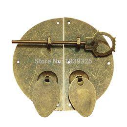 Wholesale Door Pull Handle Brass - Antique Furniture Hardware Accessories Brass Round Door Lock Shoebox Wardrobe Bookcase Cupboard Cabinet Vintage Pull Handle Knob