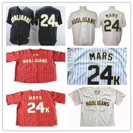 фланелевый бейсбольный джерси Скидка Модные хулиганы Bruno Mars 24 K Награды Bianco Gessato Vintage Бейсбол Джерси Красный Черный Белый Sripe Сшитые рубашки Размер S-3XL