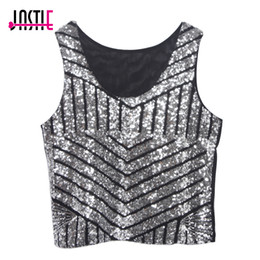 Wholesale Black Sequin Tank Top - 2015 New Sexy Striped Bling Women's Sequin Tank Top Irregularly Slim O Neck Small Black Sequins Crop Tops Vest Mesh Back Blusa
