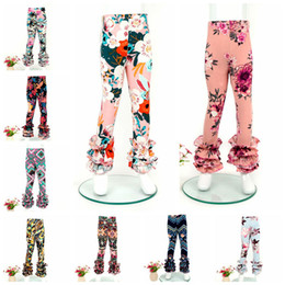 Wholesale Baby Floral Tights - Girls ruffle pants Baby Floral print Leggings Tights kids Dot Trousers 2018 new 59 colors C3566