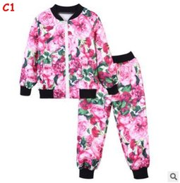 Wholesale Coloured Hoodies - 3-12Yrs Baby Kids Clothing Set For Girl Boys Spring Fall Cotton Long Sleeve Rose Flower Hoodies Tops Pant Tracksuit Kid Children Boy Clothes