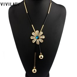 Wholesale Costume Jewelry Long Necklaces - whole saleVIVILADY Fashion Metal Chain Flower Long Chain Tassels Necklaces Women Crystals Rhinestones OL Bohemian Costumes Jewelry Bijoux