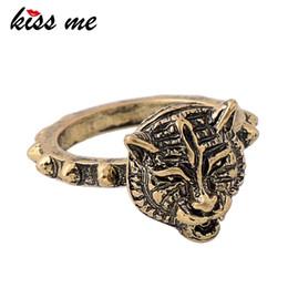 2019 diseños antiguos anillos de oro KISS ME Antique Gold Color Alloy Punk Vintage Anillos para Mujer Nuevo Diseño Figura Anillo Joyería de Moda diseños antiguos anillos de oro baratos