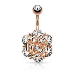 Wholesale bell flower plant - Rose Flower Navel Rings Belly Button Rings Crystal 316L Stainless Steel Piercing Belly Rings Body Jewelry