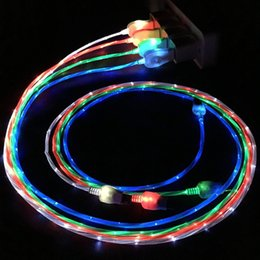 Wholesale usb cable cell phone led - 100cm Visible Flowing LED Light USB Charging Cable type c Micro USB Charger Data Sync Cable For Cell phones SAMSUNG HUAWEI LG