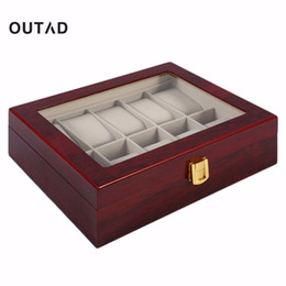 red wooden boxes Promo Codes - Practical 10 Grids Retro Red Wooden Watch Box Display Case Durable Jewelry Collection Storage Watch Organizer Box