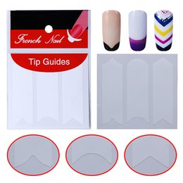 patterned french tips 2018 - 5pcs Nails Sticker Tips Guide French Manicure Nail Art Decals Form Fringe Guides Sticker for UV French Polish DIY 12 Patterns