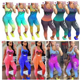 Wholesale tight women s pants - Women Love Pink Letter Tracksuit Summer Sleeveless Top Vest Tights Pants Outfit Sportswear Casual Clothing 10 Gradient Colors MMA185
