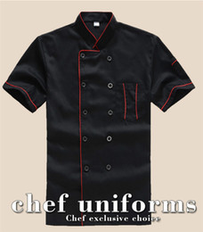 Wholesale Black Chef - New Chef's Short-sleeved Breathable Outfit Summer Wear Work Clothes Men and Women Overalls Coats Hotel Chef Jacket Uniform Black