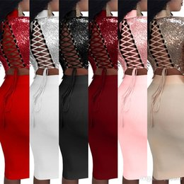 Wholesale Night Club Products - Cross Border New Product 7 Color European Sexy Paillette Twinset Night Sleeve Chalaza Dress Hollow Out Mid-Calf