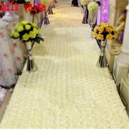 Corredor de la alfombra blanca de la boda online-Nuevo Popular Favores de Boda Alfombra Blanca 3D Rose Petal Runner Runner Para El Banquete de Boda Decoraciones Suministros Shooting Prop 16 colores disponibles