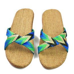 Wholesale Flax Straw - 2017 Fashion Flax Home Slippers Indoor Floor Shoes Cross Belt Silent Sweat Slippers For Summer Women Sandals
