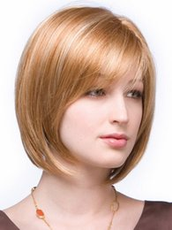 Wholesale Blonde Men Wigs - Amir Synthetic Middle Length Straight Bob Hairstyle White Women Natural Blonde Wig Hair Replacement for men Free Shipping