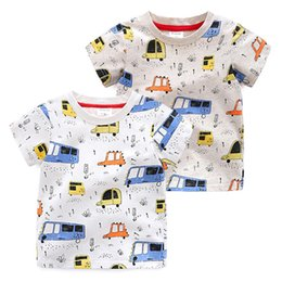 Wholesale Summer Children Cartoon Tees - Boy T shirt Short sleeve Cartoon Cars Print Tees Tops Summer Children clothing Boutique clothing B11