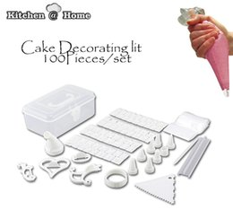 Wholesale Make Cake Decorating - Wholesale- 100 Piece Cake Decorator Decoration Kit DIY Cupcake Making Mould Decorating Frosting Icing Storage Box Cooking Tool K110