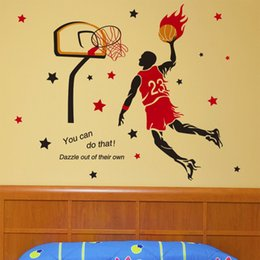 Pegatina removible de baloncesto online-Creativo baloncesto fuego pegatinas de pared a prueba de agua calcomanías calcomanías murales pueden ser extraíbles niño dormitorio sala de estar de fondo decoración