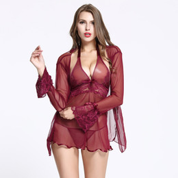Wholesale Transparent Nightgowns - Women's Sexy Lingerie Robe 2 Piece Set Dot Transparent Gauze Two-pieces Pajama Sets Ladies Nightdress Nightgown Suit Sleepwear