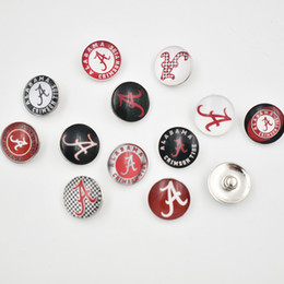 Wholesale Alabama Charms - Mixed Ginger Snap Jewelry NCAA Univercity of Alabama Snap Button 18mm Glass Snap Charms Fit For DIY Jewelry