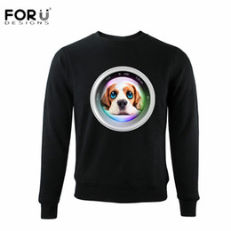 Wholesale Pink Hoodies For Dogs - FORUDESIGNS Black Men Hoodies Casual 3D Animal Dog Printing Sweatshirt for Boys Teen Student O-neck Spring Hoodes Clothing Male