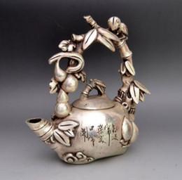 chá de aves Desconto Ásia Collectible Decorado Miao Prata Esculpida Pássaro Em Grape Tree Tea Pot