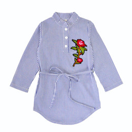 Wholesale Halloween Clothing Shirts - Baby stripe Shirt dress 2018 new Children Flowers princess dresses Boutique Kids Clothing C3775