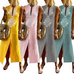 f71ac6d2d970 vestiti da club di lino Sconti Prova tutto Abiti lungo Bohemian Maxi Abito  in lino cotone
